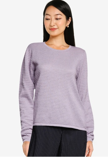 JACQUELINE DE YONG grey and purple Barbarini Life Long Sleeves Knit Sweater 566D4AA0ADFEB5GS_1