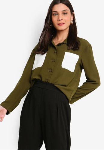 ZALORA green Button Details Shirt 0D66DAA2F0B25DGS_1