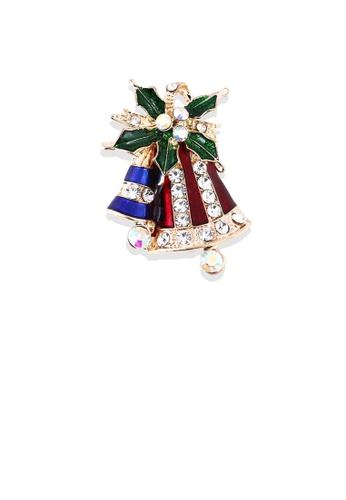 Glamorousky silver Fashion Personality Plated Gold Christmas Bell Brooch with Cubic Zirconia 7E85DAC006AA1EGS_1