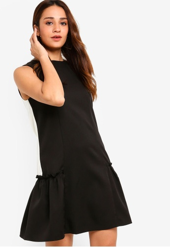 ZALORA black and multi Drop Waist Ruffle Hem Dress 2B0BAAA91F6793GS_1