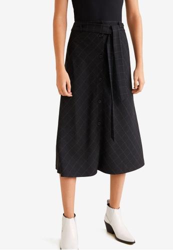 Mango black Buttons Flared Skirt 2520DAA9690453GS_1