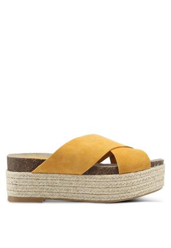 Mango 黃色 皮革厚底涼鞋 198AASH86BD90CGS_1