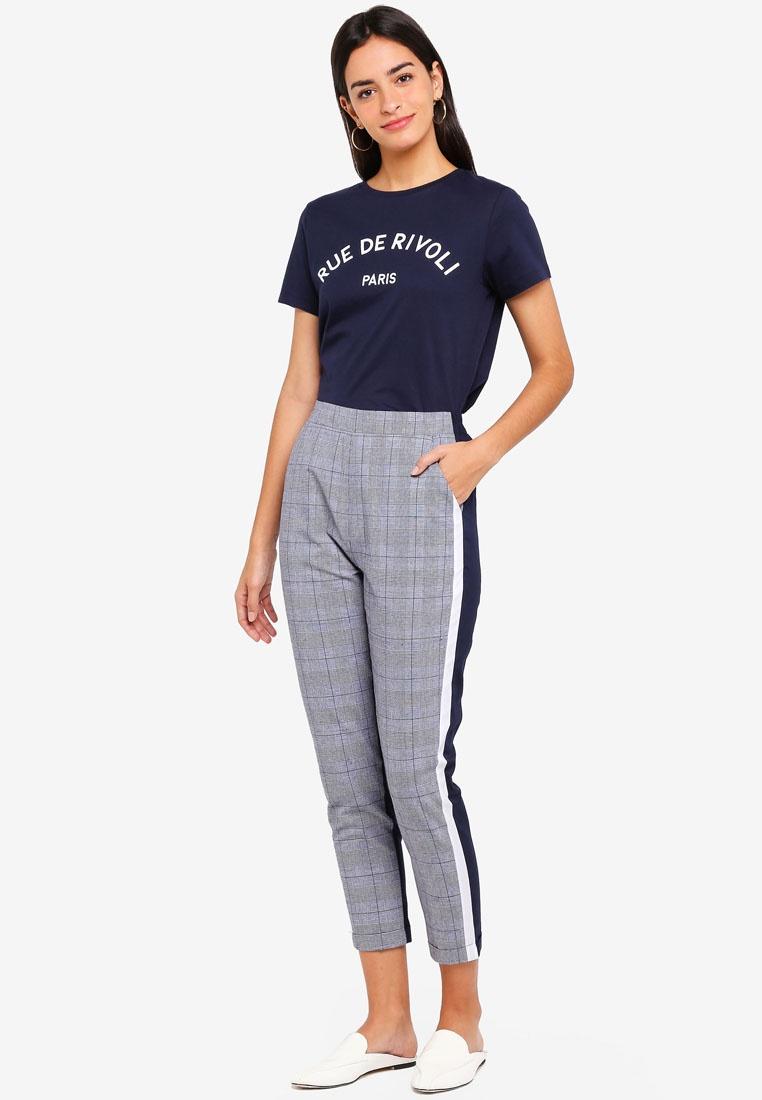 Checks Pants Contrast ZALORA Checkered Grey Navy wfx8H6x1Xq