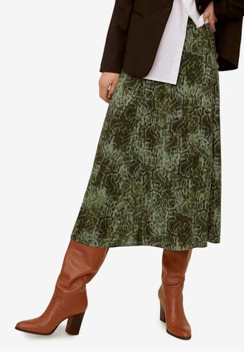 Mango green Printed Skirt EE90EAAAD46623GS_1