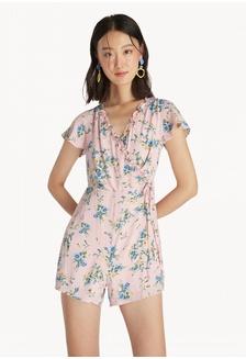 58d207a395e Surplice Neck Floral Romper - Pink DB23FAA5A4F557GS 1