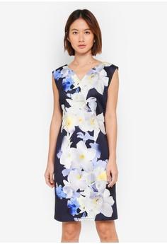 Wallis navy Petite Navy Floral Print Dress 728A4AAFB8119DGS 1 27179ea38