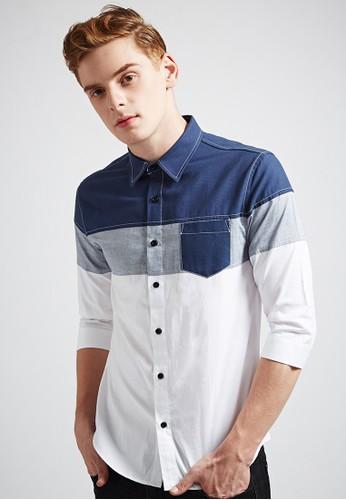 玩樂街頭esprit taiwan。半身剪接。丹寧七分袖襯衫-03612-丈青白, 服飾, 素色襯衫