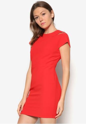 Abbey 挖肩緊身zalora 評價連身裙, 服飾, 服飾
