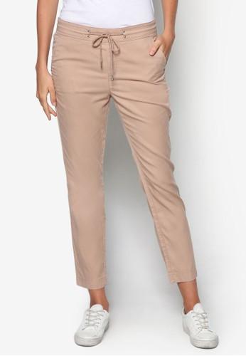 棉esprit hk outlet織繫帶休閒長褲, 服飾, 直腳褲