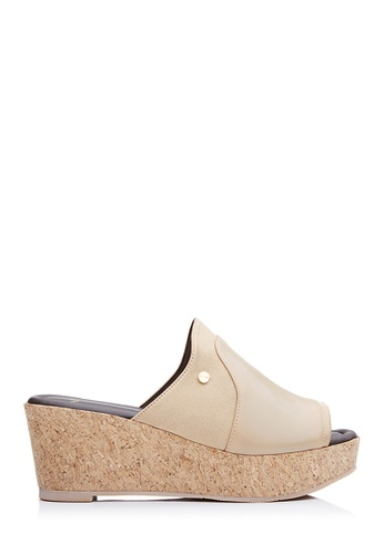 BONIA beige Women Medium Brown Silk Lycra Open-Toe Wedges 12905SH7C84F87GS_1