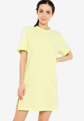 ADIDAS yellow adicolor classics roll-up sleeve tee dress DCF9EAA1371CA2GS_1
