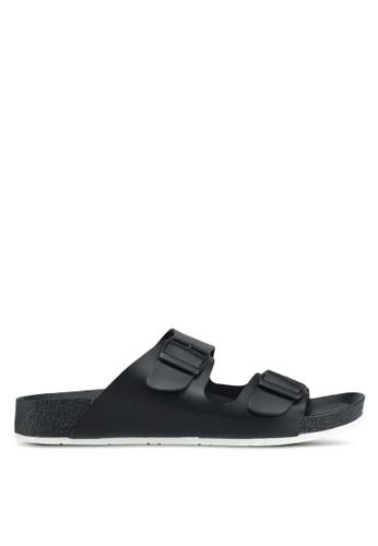 Bata black Bata Double Buckle Strap Sandals 66E8BSH0ECD83DGS_1