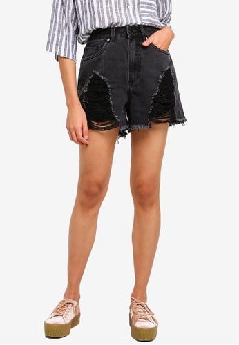 Cotton On black High Rise Flashback Denim Shorts 47A4BAAAA627C0GS_1