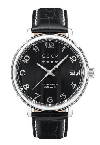 CCCP black CCCP HERITAGE CP-7021-01 Men's Black Genuine Leather Strap Watch 351D1AC1285A77GS_1