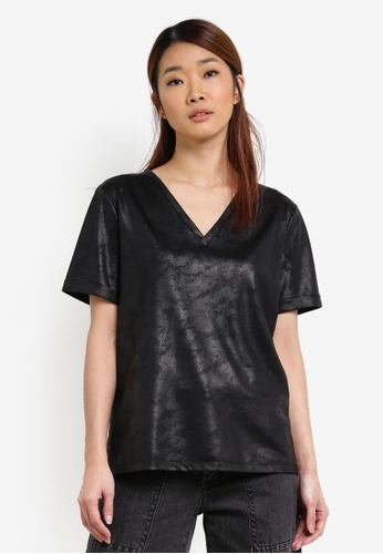 Something Borrowed black Textured Boyfriend Tee B42D8AA28B0E5EGS_1