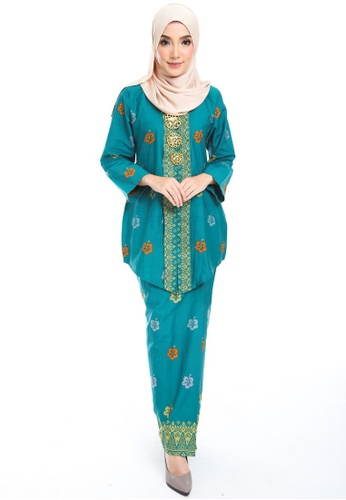 Cotton Tradisional Kebaya With Songket Print (BRaya) from Kasih in Green and Blue and Multi