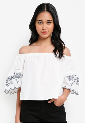 Something Borrowed white Embroidered Off Shoulder Top C9943AAE9F88B6GS_1