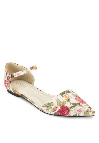 Viola 碎花鏤空繞踝尖頭平底鞋,esprit 兼職 女鞋, 鞋