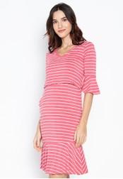 BUNTIS pink Dahlia Nursing Maternity Dress Bell Sleeves AE3CCAAF0BA131GS_1