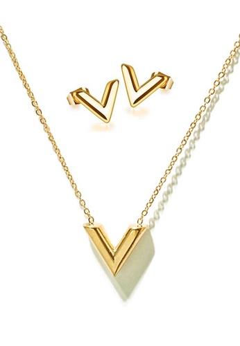 CELOVIS gold CELOVIS - Victoria Classic V Shape in Gold Necklace + Earrings Set F9FC6ACF36E2B5GS_1