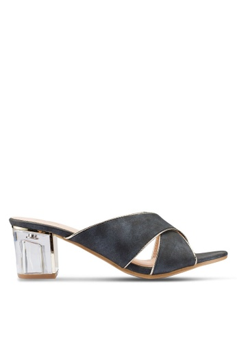 Berrybenka 黑色 金屬感繞帶高跟涼鞋 65D0CSHE338D2CGS_1