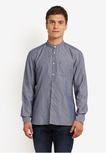 ESPRIT blue Woven Long Sleeve Shirt ES374AA0ROA5MY_1