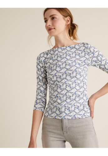 MARKS & SPENCER white M&S Cotton Printed Slash Neck Fitted Top F7A6BAA1E50522GS_1
