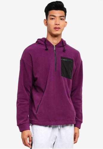 Cotton On purple Drop Shoulder Pullover Fleece Hoodie 319B0AAABB845AGS_1