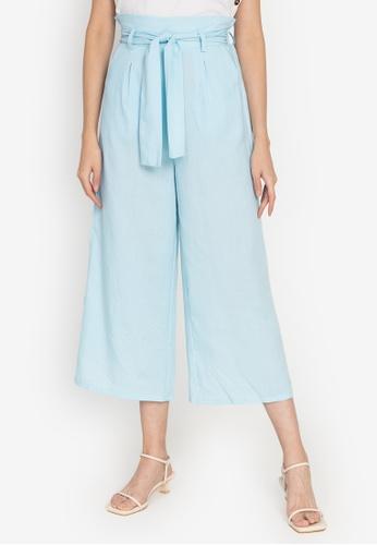 ZALORA BASICS blue High Rise Paperbag Culottes 11AADAA8B702D4GS_1
