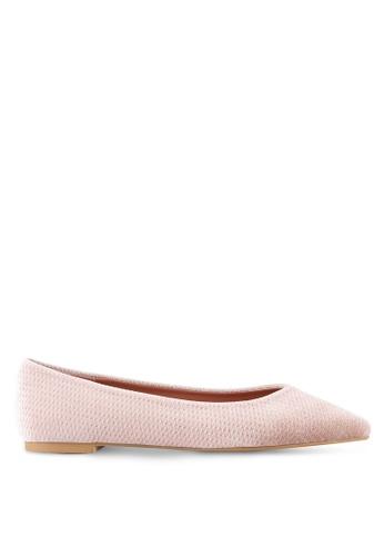 ZALORA 粉紅色 Velvet Embossed Ballerina Flats 6E8CBSH4F6105BGS_1