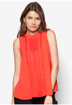 Petite Coral Panel Lace Shell Top