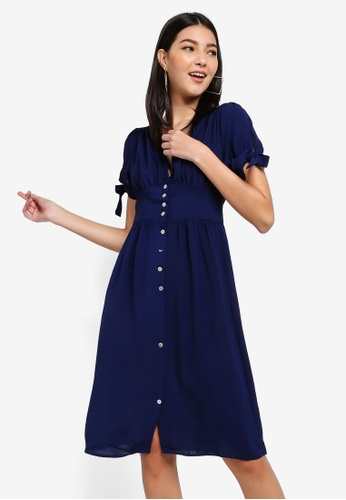 ZALORA navy Puff Sleeves V-Neck Dress 04BF2AA2B31011GS_1