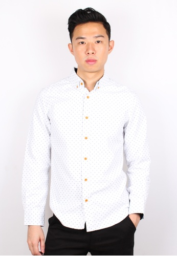 Moley white Design Patterned Long Sleeve Cotton Twill Shirt MO329AA0GMQWSG_1