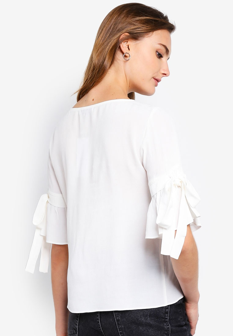 Tie Sleeves ZALORA Basic With White Top BASICS Boatneck wqRRXxYUv