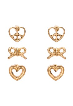 Heart and Ribbon Earring Set