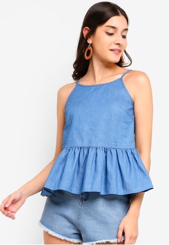 ZALORA blue Chambray Top 87187AA56C5175GS_1