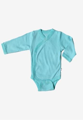 Babysoy blue Long Sleeve Kimono Bodysuit Harbor 5F761KA1D084F4GS_1