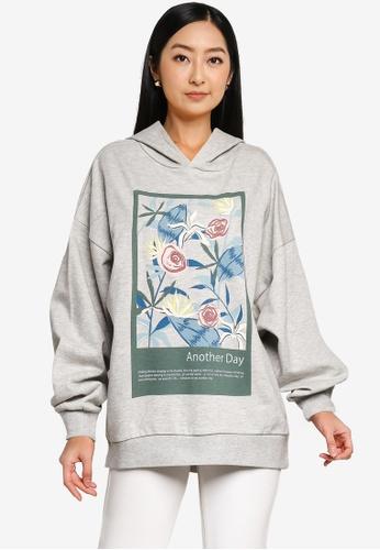 JACQUELINE DE YONG grey Napoleon Long Sleeves Print Sweatshirt 3189CAAB303CA0GS_1
