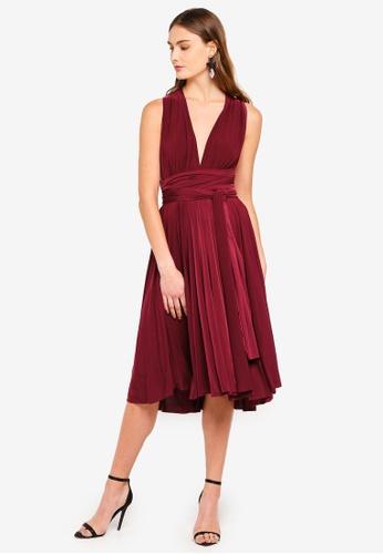 Goddiva 紅色 素色綢緞多色洋裝 2E92DAA1DF6411GS_1