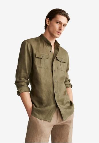 MANGO Man beige Regular-Fit Mao Collar Linen Shirt D39F9AAE9670B7GS_1