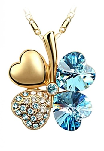 LOVENGIFTS blue and gold LOVENGIFTS Lucky Pendant Necklace 18K Gold (Blue) LO429AC38TJPMY_1