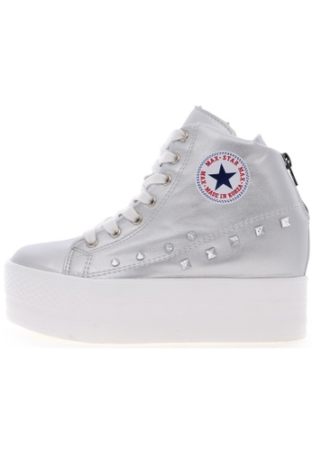 Maxstar Maxstar C2H Synthetic Leather Taller Insole Studed White Platform Sneakers US Women Size MA168SH54USRHK_1