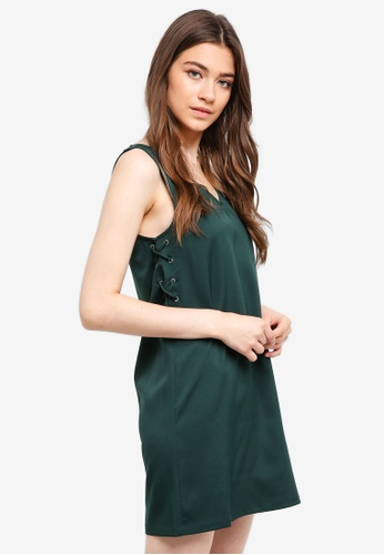 Something Borrowed green Laced Up Sleeves Shift Dress AEA04AA84FE082GS_1