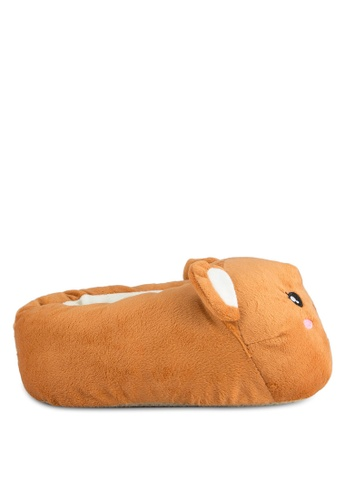 TOPSHOP brown Pepa Hamster Slippers TO412SH0SHHQMY_1