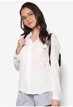 Lace Insert Long Sleeve Shirt