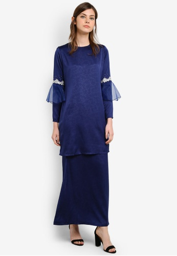 Gene Martino blue and navy Fairy Kurung With Organza Ruffles Sleeve And Floral Details GE222AA0S76JMY_1