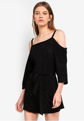Dorothy Perkins black Cold Shoulder Playsuit 03586AA7E6804EGS_1