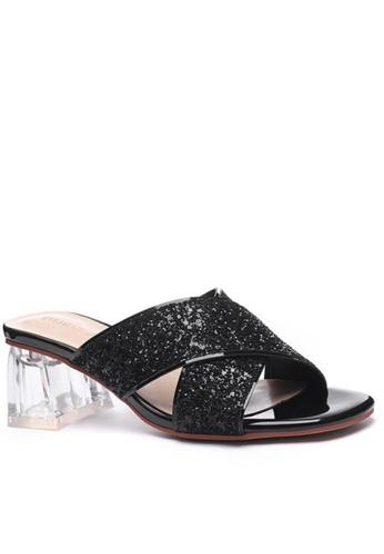 Twenty Eight Shoes 黑色 水晶玻璃踭涼鞋1801-3 34FB4SHBB1B9D4GS_1