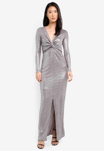 River Island silver Knot Front Plunge Maxi Dress RI009AA0SJC6MY_1