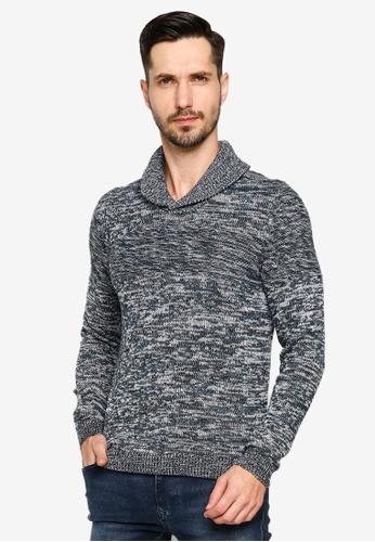 BLEND black Melange Shawl Collar Sweater 1B68CAA95C2A49GS_1